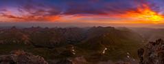 Chasing the light to 14,309 ft. (Matt Payne Photography) Tags: panorama mountains sunrise landscape haze colorado vibrant smoke panoramic 14er lakecity sanjuanmountains uncompahgrepeak wetterhornpeak