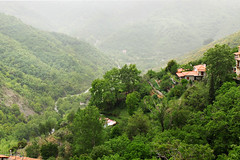 Peleponnese - mountainous inland (rotraud_71) Tags: trees mist mountains buildings europe greece inland canyons peleponnese