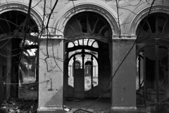 Fonti del Corallo (Emma Nibaru) Tags: livorno decadence ruins ivy building windows doors nikon nikond7200 bw bn loneliness desolation
