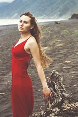 Give me Liberty (Alyssa Mort) Tags: alyssamort portrait woman beach surreal outdoor red dress ocean conceptual girl model art dark darkart wind