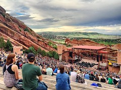 Amphitheater view No. 2, 2015.07.15 (Aaron Glenn Campbell) Tags: vacation sky apple clouds concert colorado audience outdoor crowd roadtrip faded redrocks morrison venue excursion iphoneography instagramapp uploaded:by=instagram snapseed vividhdr ios8 iphone6plus