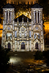 Showing of San Antonio--The Saga (donnieking1811) Tags: texas san antonio catholic church churches cathedral cathedrals lightshow history exteriors outdoors nightime cross crosses architecture arches canon 60d
