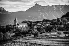 La Table - France(Savoie) (christian.grelard) Tags: village montagne alpes bw mountain noiretblanc savoie tourism nb paysage landscape eglise church morning field