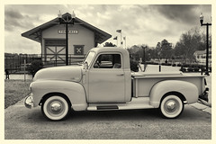 Waiting at Tomball Depot (Robert Holler Photography) Tags: old vintage truck 1949 chevy chevrolet tomball railroad depot texas bw sepia hss explore explored