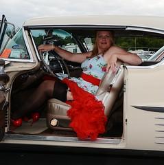 Ange L'Que_8826 (Fast an' Bulbous) Tags: car vehicle american classic oldtimer girl woman milf mature dress stockings nylons high heels stilettos sexy chick babe nikon d7100 gimp santa pod england