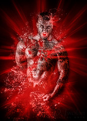 The Emotion Anger (UrsusFortis) Tags: male man figure form study physique healthy fitness athelete malemodel tattoos bodyart anger emotion photography art light lighting red muscular muscularity anatomy body nikon d7100 photoshop digitalart artwork arm arms chest pecs pectoral bare simple
