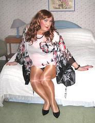 Colskimpytop-004 (fionaxxcd) Tags: crossdressing crossdresser m2f mtf transvestite trannie tranny wolford tights pantyhose bra upskirt stilettoes longhair rednails lipstick