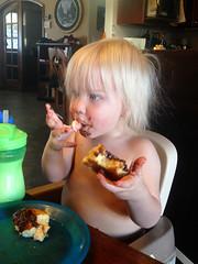 20160223_Shannon_phone_0028.jpg (Ryan and Shannon Gutenkunst) Tags: codygutenkunst boosterseat chocolate diningtable doughnut milk morningsnack tucson az usa