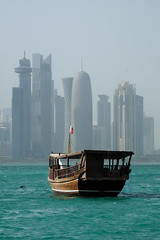 Old Dhow and Doha Skyline (micheltheriault) Tags: green water skyline buildings boat horizon doha qatar dhow quatar