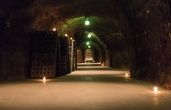 Riddling racks, Schramsberg (ExarchIzain) Tags: candle wine bottles champagne tunnel winery caves cellar sparkling tealight racks ageing schramsberg riddling