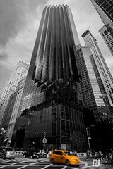 Trump Tower NYC (philrdjones) Tags: nyc newyorkcity usa newyork skyscraper taxi unitedstatesofamerica yellowcab september trumptower 2014 colourpopping