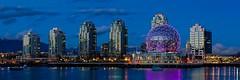 ScienceWorld_095_6_7_fused (gks18) Tags: longexposure blue urban canada vancouver canon buildings dusk naturallight falsecreek bluehour hdr scienceworld canon7d