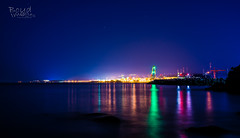 Beautified Nuclear Power Plant (Boyd Images) Tags: ocean longexposure sea sky night reflections stars lights outdoor south nuclear korea clear colorfullights powerplant uljin bugu boydimages