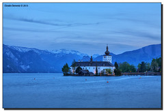Blue Hour (Fraggle Red) Tags: lake mountains castle clouds austria evening sterreich bluehour obersterreich hdr traunstein aftersunset salzkammergut upperaustria gmunden traunsee canonef24105mmf4lis schlossort 7exp dphdr seeschlossort canoneos5dmarkiii 5d3 5diii adobephotoshopcs6 adobelightroom5