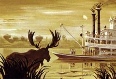 Mark Twain Riverboat at Disneyland by Ralph Hulett, 1962 (Tom Simpson) Tags: illustration vintage painting disneyland moose disney 1960s 1962 tomsawyerisland tomsawyersisland riversofamerica marktwainriverboat vintagedisney ralphhulett