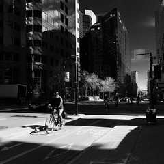 Post rush-hour traffic | 127/366 (emrold) Tags: bw square shadows montreal bicycles contrasts day127366 iphoneography 366the2016edition 3662016 6may16