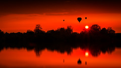 Live in a hot air balloon (PhotoSolutions | pure photography) Tags: light sunset sky sun nature colors landscape colorful skies balloon hotairballoon schoonrewoerd nohdr