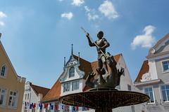 Heider St. Georg-Brunnen (towytopper) Tags: st statue bronze sommer brunnen himmel markt figur heide denkmal georg drachen wappen dithmarschen sdermarkt drachentter
