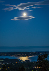 Moonlight sonata (Mark McCaughrean) Tags: reflection oslo norway moonlight fjord holmenkollen