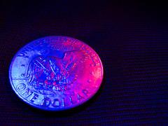 1011 - Apollo 11 (Diego Rosato) Tags: luci rossa red blue blu still life fuji x30 gimp dollar dollaro lights ike eisenhower aquila eagle usa luna moon apollo 11