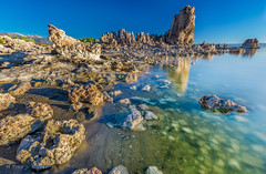 Desert Lake (ScorpioOnSUP) Tags: california monolake southtufa battleship bluesky desert lake landscape landscapephotography mountainline reflections rockformations rocks salt sky sun sunrise sunriseglow water