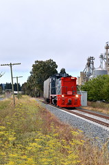 Shoving into Willowbrook (caltrain927) Tags: northwestern pacific railroad railway shortline emd mp15dc mp15 electromotivediesel loaded grain freight cars hoppers hopper nwp local petaluma california ca willowbrook