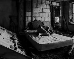 Shadow's Long but Day is Young (sadandbeautiful (Sarah)) Tags: me woman female self selfportrait abandoned resort poconos pennsylvania bw bed