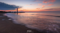 Sunrise (Callegher Marco - The beauty in my eyes) Tags: beach mare sea seascape dawn colors colori nuvole clouds cloud sunrise alba lighthouse faro piave river light luce sand sabbia conchiglie onde onda wave waves venice