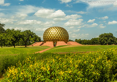Matrimandir (aka Temple of The Mother) - a place for finding one's consciousness. (Renji's SnapShots) Tags: matrimandir auroville pondicherry puducherry travel outdoor architecture dome sunnyday sky india landscape grass