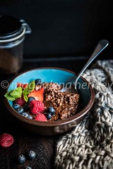 chocolate porridge with honey and berries (magshendey) Tags: chocolate foodphoto foodstyling berries breakfast warming dark
