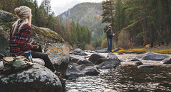 Up the River. (vanessa.smith) Tags: fishing flyfishing outdoors hike camp flannel autumn red adventure wander explore trees mountains river blackpack fall autumntrees