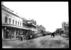 Summer St. Orange N.S.W. (Royal Australian Historical Society) Tags: horses streets children streetlights pedestrians roads stores horsedrawncarriages mainstreets horsedrawncarts commercialestablishments rahsmen