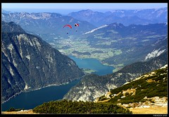 The whole world for two (mark.paradox) Tags: autumn mountain alps weather sport landscape austria view wind paragliding dachstein krippenstein   greatphotographers tandemflight  easternalps thelookgold