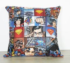 SOAK couture Super man cushion (JulieAube) Tags: blue red vintage comic case superman pillow etsy cushion soakcouture