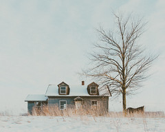 """Just an empty building."" (D A Baker) Tags: empty abandoned vacant desolate forgotten capecod farmhouse house home tree sad broken childhood dreams allen county indiana snow winter grass farm nikon d610 daniel baker da"