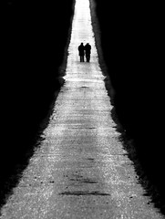 each coming night (Wackelaugen) Tags: street old two blackandwhite bw white black silhouette contrast canon way walking photography eos mono photo blackwhite couple bright walk silhouettes meeting symmetry age balance minimalism googlies wackelaugen