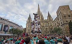 Castellers (Jan Kranendonk) Tags: pictures barcelona street city people urban tower sport festival buildings square spain europe cathedral traditional ngc crowd culture demonstration event spanish busy catalunya tradition custom castellers catalan castell humantower smartphones castelling