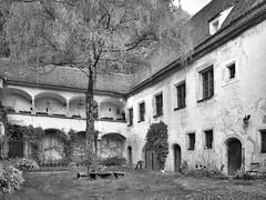 Dunklhof (Tomsch) Tags: old blackandwhite building austria blackwhite österreich alt innenhof sightseeing sight gebäude oberösterreich arkaden steyr sehenswürdigkeit upperaustria steyrdorf scharzweiss dunklhof