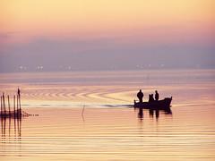 Peinando las aguas (Japo Garca) Tags: espaa atardecer agua barca tramonto colores paseo cielo contraste silueta acqua riflessi olas pescatore reflejos onde naranjas arancia fotografa pescar pescando siluete azurro albuferadevalencia japogarca