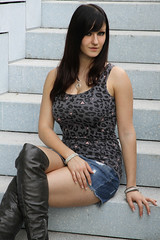 Chrissi 15 (The Booted Cat) Tags: sexy girl model miniskirt demin jeans higheels heels overknee boots legs candid