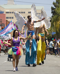 Winged guys on stilts (San Diego Shooter) Tags: pride gay portrait sandiego sandiegopride gaypride sandiegopride2016 pride2016 hillcrest