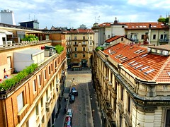 Street of Milano from roof (romain.cacace) Tags: sky curl arty photography architecture design building colorful colourful couleur rouge brique batiment milano milan