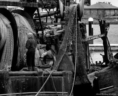 Scotland West Highlands Kintyre Campbeltown an atlantic fishing trawler crewman 3 July 2016 by Anne MacKay (Anne MacKay images of interest & wonder) Tags: scotland west highlands campbeltown atlantic fishing rrawler crewman dock ship nets monochrome blackandwhite xs1 3 july 2016 picture by anne mackay kintyre
