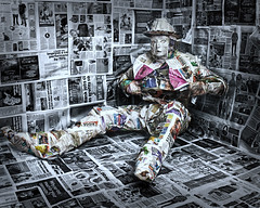 Looking for a Heart (charenty) Tags: newspaper news sheets wrapped paper studio covered canon aperturewoolwich