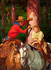 The Heart of the West, Romantic Range cover, August 1937 by Gayle Porter Hoskins (Tom Simpson) Tags: gayleporterhoskins theheartofthewest romanticrange cover 1937 western cowboy cowgirl woman girl 1930s vintage carve initials tree horse romance painting illustration