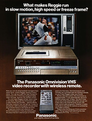 Reggie Jackson and the 1981 Panasonic Omnivision VCR with wireless remote control (Tom Simpson) Tags: reggiejackson baseball panasonic vhs vcr videocassetterecorder vintage electronics vintageelectronics 1981 1980s ad ads advertising advertisement vintagead vintageads tv television remotecontrol
