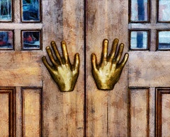 Handsy (Steve Taylor (Photography)) Tags: hands handsy door brass art digital sculpture brown blue weird odd strange metal wood wooden newzealand nz southisland canterbury christchurch cbd city texture push