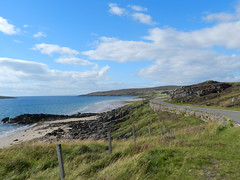 Big Sands, near Gairloch, Wester Ross, August 2016 (allanmaciver) Tags: big sands wester ross west coast coastline sea sand rocks road curve rugged clouds grass green wind fence friday highlands scotland allanmaciver