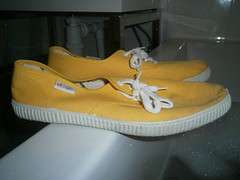 Yellow Victoria plimsolls in the bath (eurimcoplimsoll) Tags: plimsolls plimsoles canvas shoes victoria pumps yellow sneakers wet bath