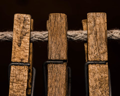 All in a Row (NedraI) Tags: macro clothesline clothespins allinarow three macromondays wooden wood